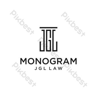vector logo monograma con diseño de letra j g l y fondo blanco Elementos graficos Modelo EPS