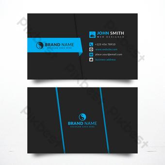 Modèle de carte de visite noir et bleu moderne et professionnel au format PSD Photoshop Modèle PSD