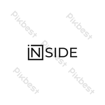 Dentro de wordmark logo vector moderno diseño simple con fondo blanco. Elementos graficos Modelo EPS