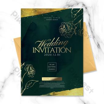 Invitation de mariage floral élégant et beau peint à la main Modèle PSD