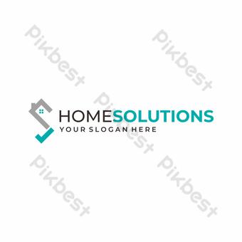 شعار حديث جريء وفريد من نوعه مع علامة اختيار الحرف S والمنزل أو السقف صور PNG قالب EPS