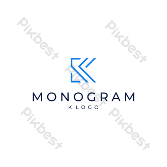 k logo simple diseño moderno fondo azul y blanco Elementos graficos Modelo EPS