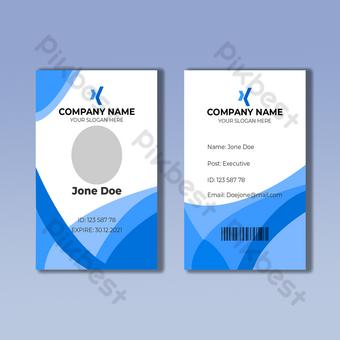 Modèle de conception de carte d'identité blanche et bleue Modèle EPS