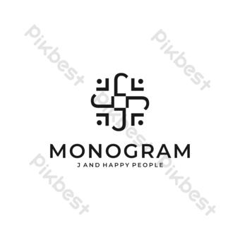 J logo vector moderno diseño sencillo con símbolo hombre feliz y fondo blanco. Elementos graficos Modelo EPS