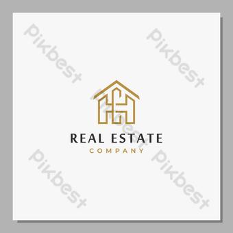 منزل ، عقارات ، شعار الحد الأدنى ، مفهوم ، حرف hc حرف واحد فقط ، خط المنزل ، شعار الفن ، الرسم التوضيحي صور PNG قالب EPS
