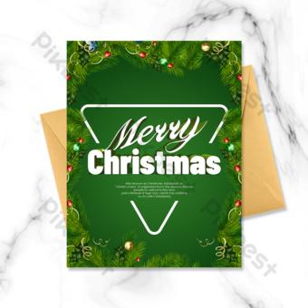 Carte de voeux de Noël personnalisée Guirlande verte Modèle PSD