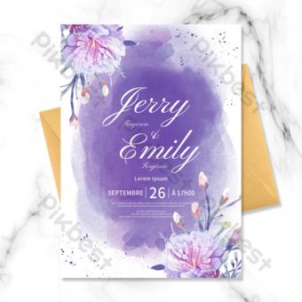 رومانسية جميلة ألوان مائية لطخة الفن الأرجواني دعوة زفاف سعيد قالب PSD