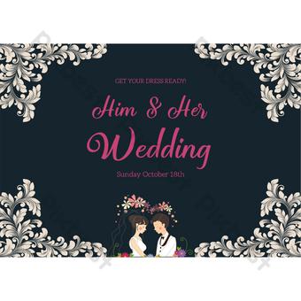 بطاقة دعوة الزفاف الظلام مع نمط الأزهار قالب PSD