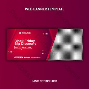 plantilla de banner de sitio web de promoción de venta de viernes negro Fondos Modelo EPS