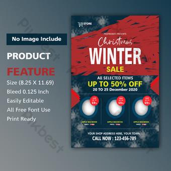 Modèle PSD de flyer de vente d'hiver Modèle PSD