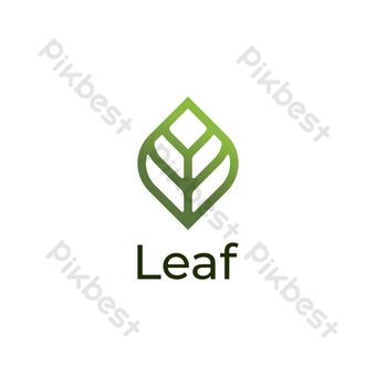 diseño de logotipo de hoja moderno vector simple con fondo verde y blanco Elementos graficos Modelo EPS