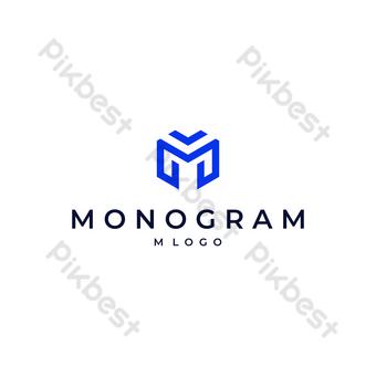 m logo vector monograma moderno diseño minimalista con fondo blanco y negro Elementos graficos Modelo EPS