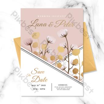 undangan pernikahan elemen kapas tanaman amplop Templat PSD