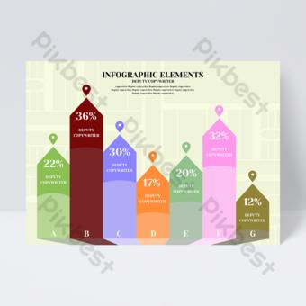 Dépliant infographique de bureau de flèche créative Modèle PSD