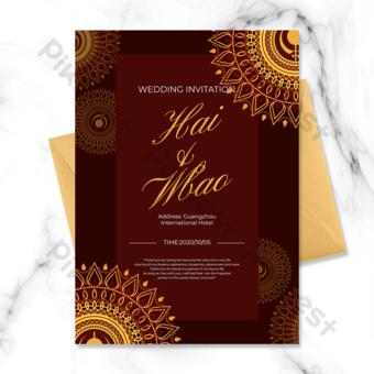 دعوة زفاف هندية مع عناصر ماندالا على خلفية داكنة قالب PSD