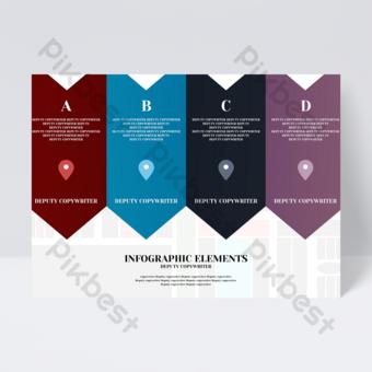 Dépliant de bureau infographique simple mode lumière couleur créatif flèche entreprise Modèle PSD