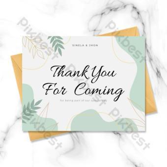 Carte de voeux de remerciement de mariage vert frais Modèle PSD