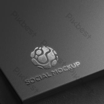 Maqueta del logo del mundo social gris Modelo PSD