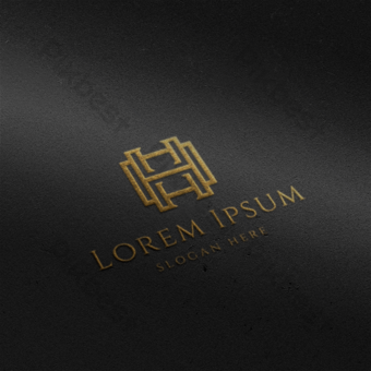 Diseño de maqueta de logo dorado sobre fondo negro Modelo PSD