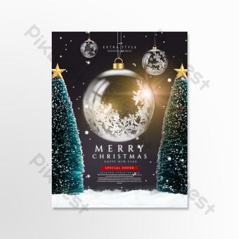 Carte de vacances de boule de verre de Noël créative de luxe Modèle PSD