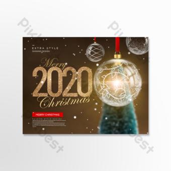 Boule de verre belle carte de voeux de Noël romantique Modèle PSD