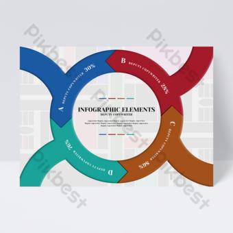 Dépliant infographique de bureau rond créatif de flèche stéréo de style commercial coloré Modèle PSD