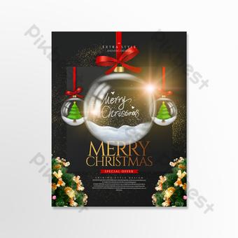 المألوف ضوء تأثير عيد الميلاد الكرة الزجاجية بطاقة عطلة قالب PSD