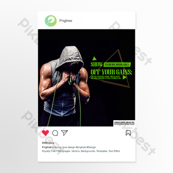 Skipping rope black senior style fitness theme instagrampost Template PSD