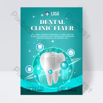 Dépliant de clinique dentaire simple bubble blue tooth Modèle PSD