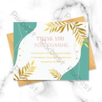 Conseil horizontal de mariage fluide de feuilles d'or carte de voeux Modèle PSD