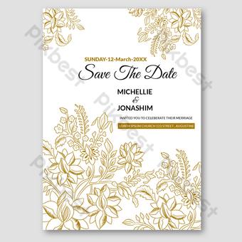 Carte d'invitation de mariage avec style de luxe floral vintage dessiné à la main Modèle AI