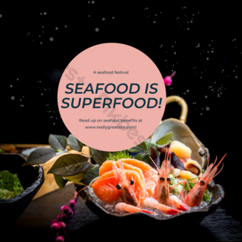 Simple seafood advertising poster social media post Template PSD