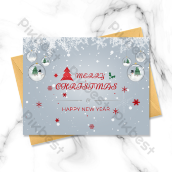 عطلة ترغب عيد الميلاد بطاقة عيد الميلاد رائعة ثلاثية الأبعاد قالب PSD