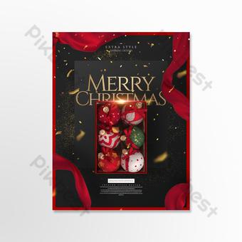 Carte de Noël en trois dimensions exquise avancée à la mode Modèle PSD