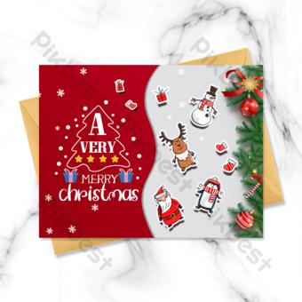 بطاقة عيد الميلاد على خلفية رمادية حمراء قالب PSD
